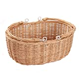 Kingwillow, Wicker Picnic Basket Hamper with double folding handles, Oval storage basket with handles (Large, Natural)