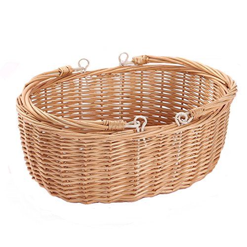 Kingwillow, Wicker Picnic Basket Hamper with Double Folding Handles, Oval Storage Basket with Handles. (Natural)