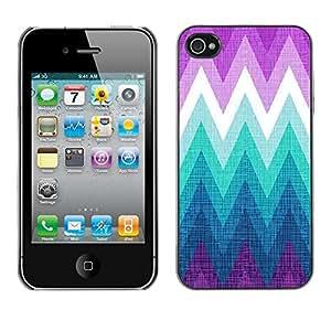 Cubierta de la caja de protección la piel dura para el Apple iPhone 4 / 4S - mountain cold purple teal