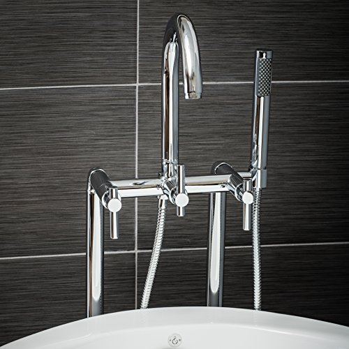Luxury Clawfoot Tub or Freestanding Tub Filler Faucet, Modern Design with Wand Style Hand Shower, Floor Mount Installation, Lever Handles, Polished Chrome Finish