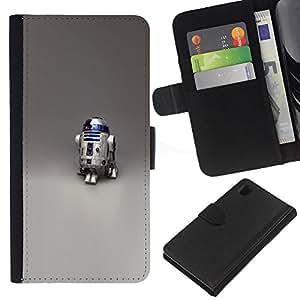// PHONE CASE GIFT // Moda Estuche Funda de Cuero Billetera Tarjeta de crédito dinero bolsa Cubierta de proteccion Caso Sony Xperia Z1 L39 / R2 D2 Robot /