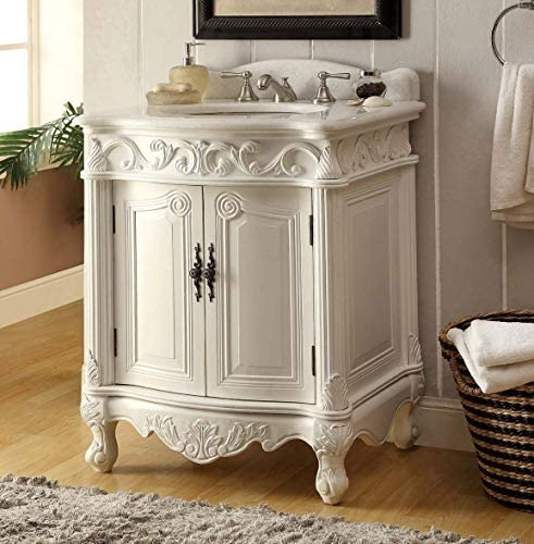 27″ Hayman Antique White Classic Style Old Fashioned Bathroom Vanity BC-2917W-AW-27