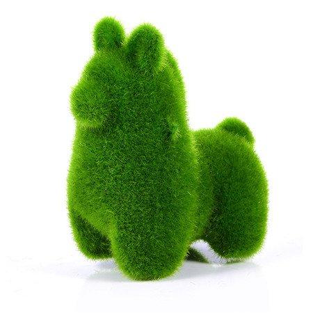 Kangsanli Cute Animal Shape Simulation Green Grass Ornaments Emulational Green Plant Bonsai Grass Animal Decoration Home Decal 4 Types (Alpaca)