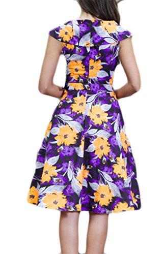 Jaycargogo Femmes Impression Vintage Floral Sans Manches D'une Robe De Soirée Plissée En Ligne Avec Ceinture Jaune