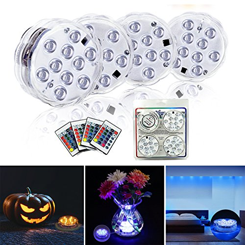 Submersible LED Lights 4 Pack-Battery Powered IR Remote Controlled RGB Color Changing Waterproof Underwater Pool Light by LDH