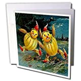 3dRose Vintage Halloween Scarecrows Running, Greeting Cards, Set of 12 (gc_6046_2)