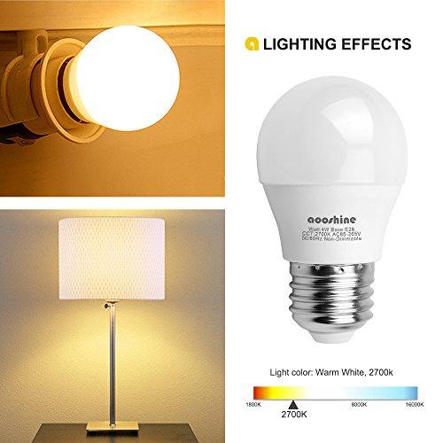 Aooshine Di Globe 40 4 Watt Soft White 2700K LED Bulb, E26 Medium Screw Base 400 Lumens A15/G45 Shape Decorative Edison Home Lighting Non-Dimmable (Pack of 6), A15 Warm, 6
