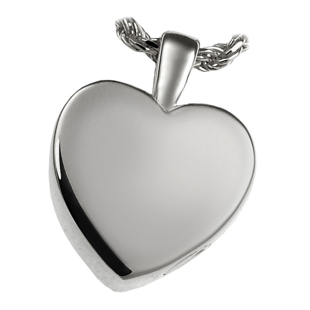 Memorial Gallery MG-3146wg Classic Heart 14K Solid White Gold (Allow 4-5 Weeks) Cremation Pet Jewelry, Small