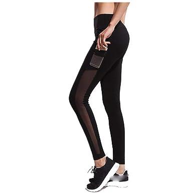 Solike Legging Femmes Sport avec Poche Taille Haute Élastique Dentelle  Couture Pantalon de Yoga Amincissant Gym Fitness Athlétiques Running  Jogging Pantalon ... 4215a7fdb72