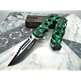 Tac-force Assisted Opening Green Skull Saber Hunting Survival Pocket Knife