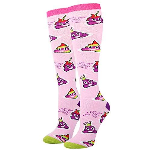 Women's Novelty Knee High Socks, Rainbow Poop Emoji Athletic Over the Calf Socks for (Field Kids Socks)