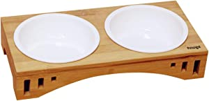 Petsoigné Basic Cat Bowls with Wooden Stand Pet Dining Table Cat Feeder with Bamboo Stand for Cats and Puppy