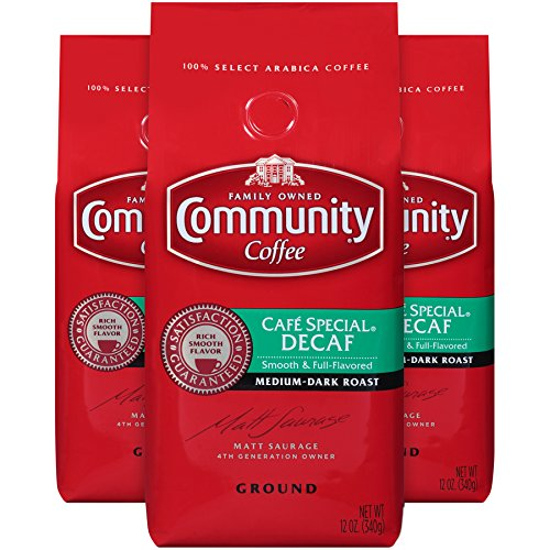 Community Coffee Premium Ground Coffee, Café Special Decaffeinated, Medium-Dark Roast, 12 oz., (Pack of 3) Ground Decaffeinated Coffee