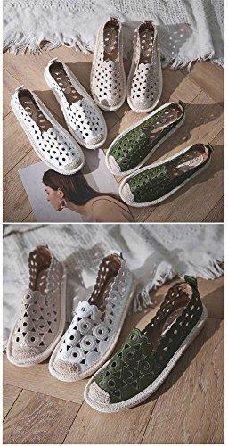 de Zapatos Plano Mujeres de Perezosos Transpirables Poco de Profundos Hueco Piso Hueco Cabeza Redonda Tac Sueltos Paja Zapatos Salvaje Bordado Zapatos Pescador de Las ZZqC4fS
