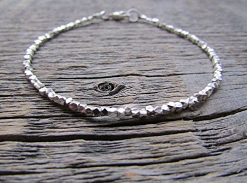 Earthwatersol Hill Tribe Silver Tribal Simple Classic Beaded Stack - Silver Hill Karen Tribal Tribe