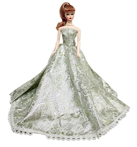 - Silver Strapless Holiday Gown Fits For Barbie Doll