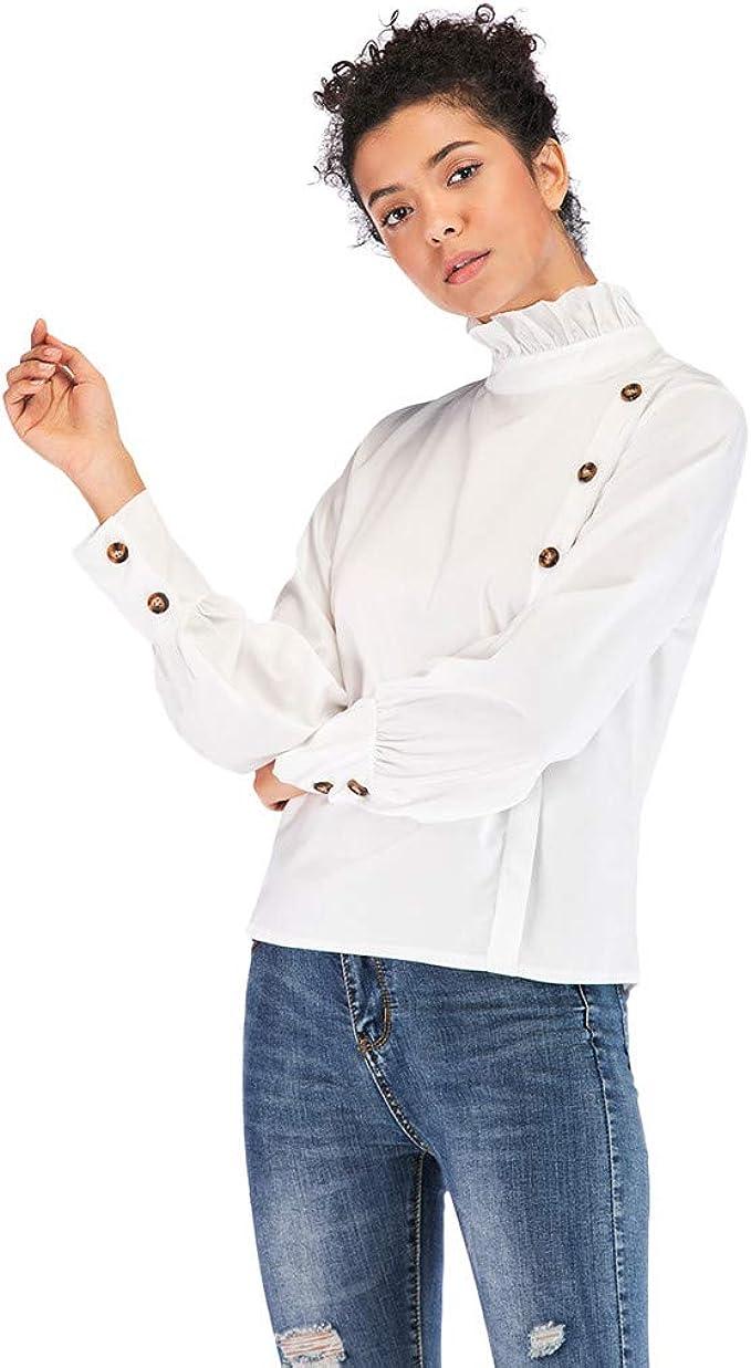MOTOCO Camisa/Camiseta de Manga Corta de Mujer Camisa Botton ...