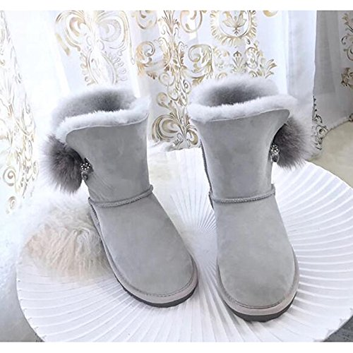 Boots Casual Round Heel Shoes HSXZ Boots Shoes Fall Winter Comfort For Pink Walking Mid Fur Toe Light Women's Feather Light Pink Calf Flat ZHZNVX Snow Boots 6qwxO1zz