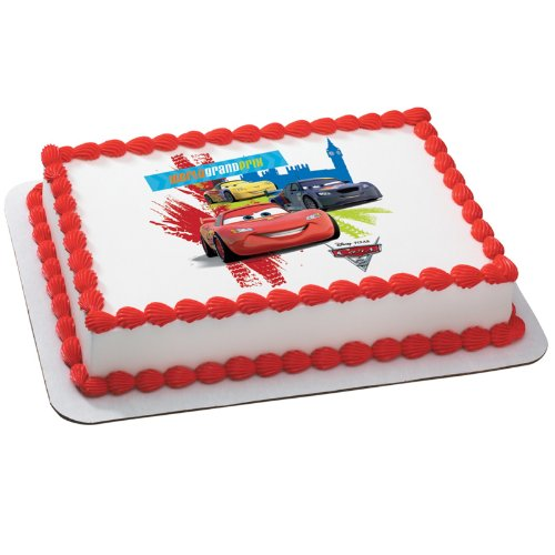 Disney's Cars 2 World Grand Prix Edible Icing Cake Topper]()