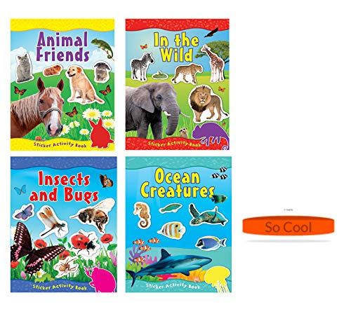 Kemah Craft Childrens' Sticker Activity Book, Animal Friends, Insects and Bugs, in The Wild, and Oceans Creatures (Set of 4 Books Plus a Free Child Bracelet)