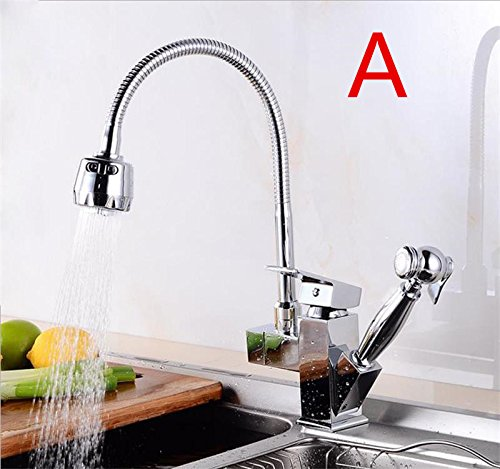 CZOOR Luxus ziehen Sie Chrom & Nickel gebürstet Oberfläche Küche Wasserhahn Mixer Einloch Deck montiert, EIN