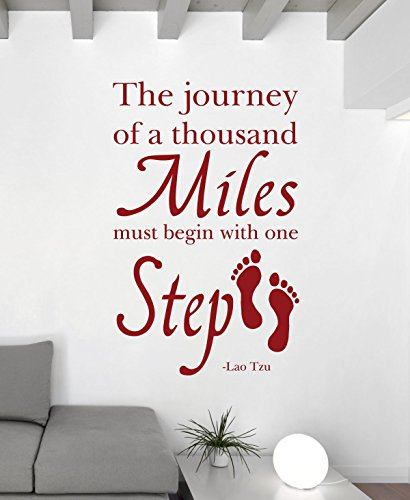 Quote Wall Decals - The Journey of A Thousand Miles Must Begin With One Step - Lao Tzu Quotes, Famous Quotes Wall Decals for the Home, Office, or Classroom