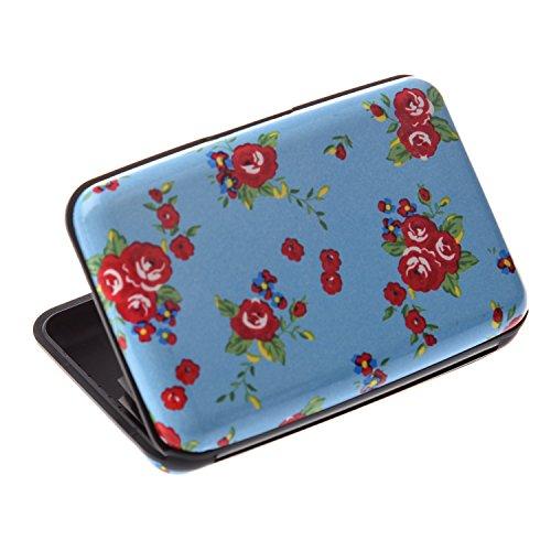 SODIAL (R) Farbe, Metall, Aluminium Identifikation-Kreditkarte-Kasten-Mappen-Geldbeutel-Taschen-Halter Box - Kleine blaue Blumen