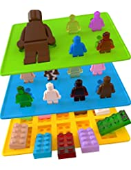 Yellow Building Brick & Blue & Green Multi-size Minifigure Silicone Ice Tray Candy Mold