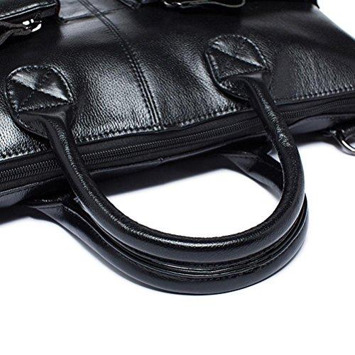GTUKO Business Männer Aktentaschen Aus Echtem Leder Laptoptasche Casual Mann Tasche Aktentasche Schultertasche 502 , Schwarz schwarz