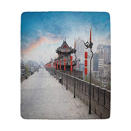 YOLIYANA Ancient China Decorations Vivid Blanket,Old Tower on City Wall Xian City at Dusk Asian Landscape Image for Office,39''W x 49''H