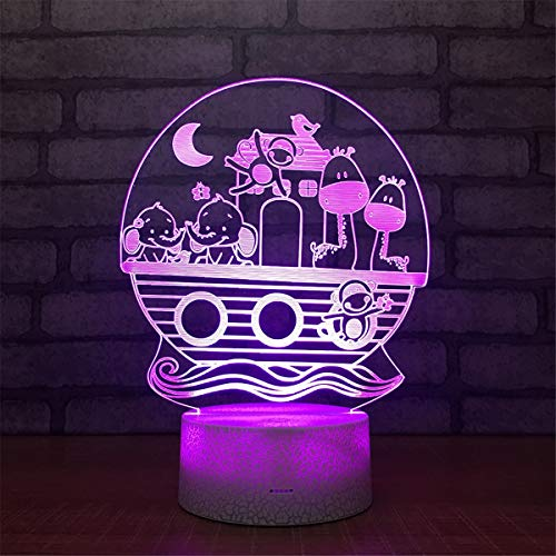 USB Powered Stunning Animal 7 Colors Optical Illusion Night Light Crackle Paint Base Touch Table Desk Lamps 3D Glow LED Lamp Art Sculpture Lights Toy for Kids Gifts by YiLight