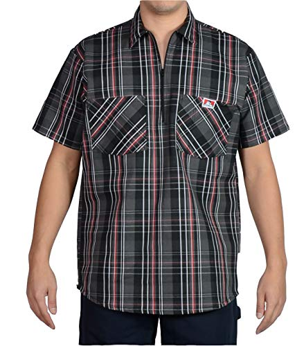 Ben Davis Men's Short Sleeve Plaid Half-Zip Work Shirt (Medium, Black/Grey/Red)