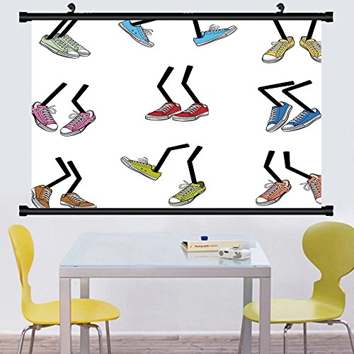 Gzhihine Wall Scroll Cartoon Comic Book Style Walking Feet Colorful Sport Sneaker Shoes Footwear Fashion Graphic Wall Hanging Multicolor - Sneakers League Justice
