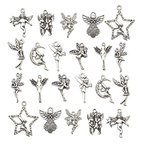- iloveDIYbeads 100g (66pcs) Craft Supplies Antique Silver Wings Angel Fairy Charms Pendants for Crafting, Jewelry Findings Making Accessory for DIY Necklace Bracelet M151