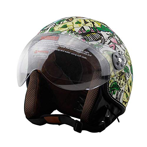 Legal Street Leather (Shfmx Motorcycle Crash Half Helmet, Motorcycle Helmet Sunscreen Visor Fast Buckle DOT Wholesale Men and Women Half face Riding Helmet,L)