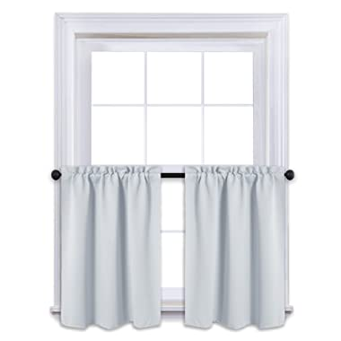 NICETOWN White Thermal Insulated Blackout Valances - Energy Efficient Kitchen Rod Pocket Tier Curtain Panels for Small Basement Windows (2-Pack, W29 x L24-Inch, Platinum-Greyish White)