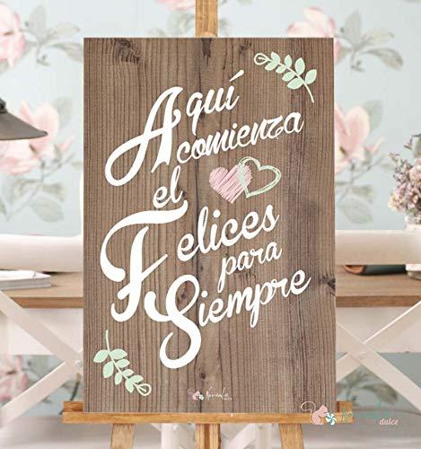 Cartel de Boda Felices para Siempre (60cm x 40cm): Amazon.es ...
