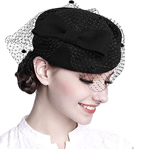 Hat With Veil (Pillbox Hat Veil Fascinator Party Wedding Retro Top Hat for Women)