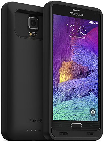 PowerBear Samsung Galaxy Note 4 Battery Case [4500 mAh] High Capacity External Battery Charger for Note 4 (Up to 140% Extra Battery) - Black [24 Month Warranty & Screen Protector Included]