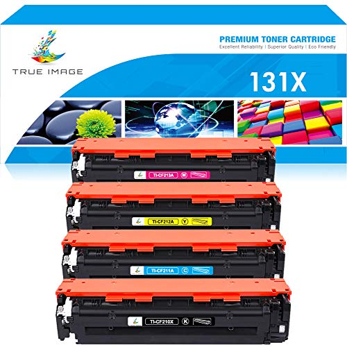 True Image Compatible Toner Cartridge Replacement for HP 131X CF210X 131A Laserjet Pro 200 Color M251nw M251n M251 M276n M276nw CF210A CF211A CF212A CF213A (Black Cyan Yellow Magenta