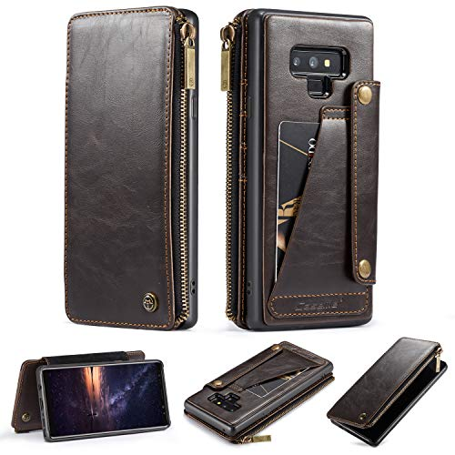 Galaxy Note 9 Wallet Case,Premium Flip Leather Creative Pocket [5 Card Slots][1 Zipper Wallet] Detachable Slim Cover United with Wallet Bag for Samsung Galaxy Note 9 (Coffee)