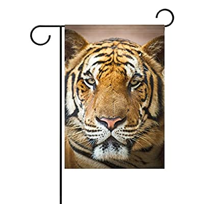 "Home Polyester Fabric Garden Flags, Tiger Pattern Print Mildew Resistant Custom Waterproof Outdoor Flag,12"" x 18"""