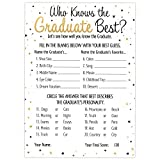 Who Knows Grad Best - Graduation Party Game Cards (25 Count)