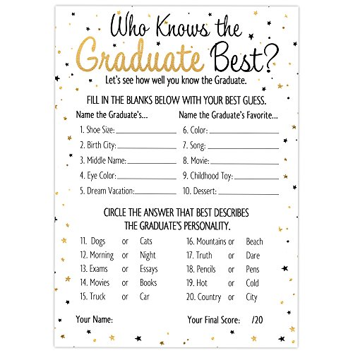 DISTINCTIVS Who Knows Grad Best - Graduation Party Game Cards (25 -