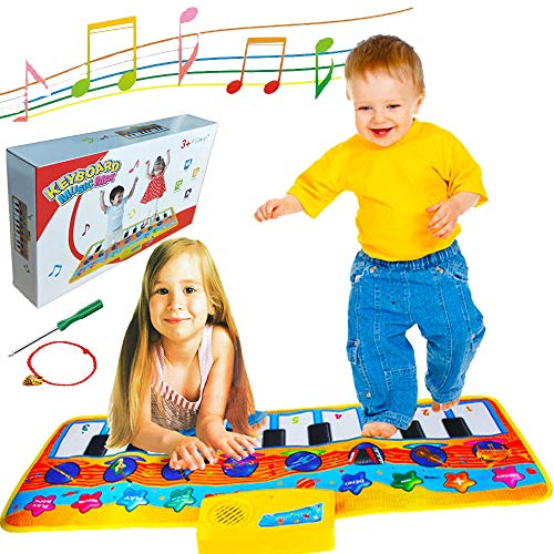 Record-Playback Piano Mat for Kids Electronic Keyboard Music Mat, Toddler Floor Dance Mat, Baby Musical Toys, 10 Piano Touch , 8 Musical Instruments, 5 Mode Dance Blanket Early Educational Toy Gift -