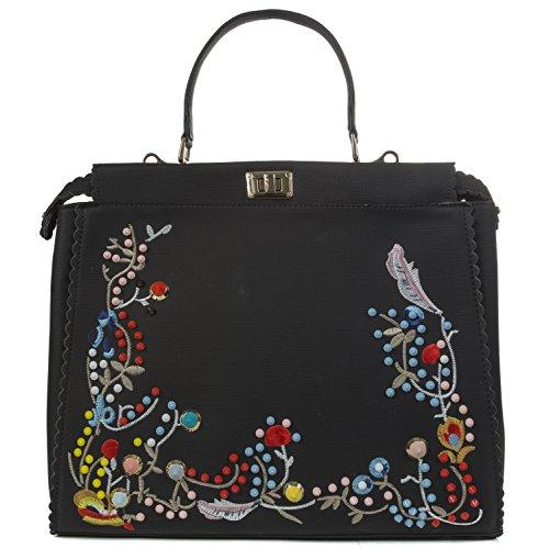 Handbag Republic Flora Embroider Handbag Design Top Handle Faux Leather Bag Tote Style Purse For Women