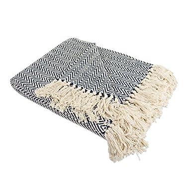 DII 100% Cotton Chevron Herringbone Throw for Indoor/Outdoor Use Camping BBQ's Beaches Everyday Blanket, 50 x 60 , Chevron Nautical Blue