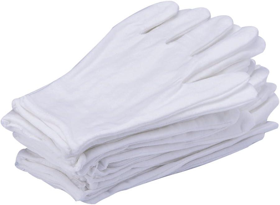 eBoot 12 Pairs White Lycra Cotton Gloves Work Gloves (Medium)