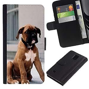 iBinBang / Flip Funda de Cuero Case Cover - Boxer Dog Breed piel de Brown Cachorro - Samsung Galaxy Note 4 SM-N910