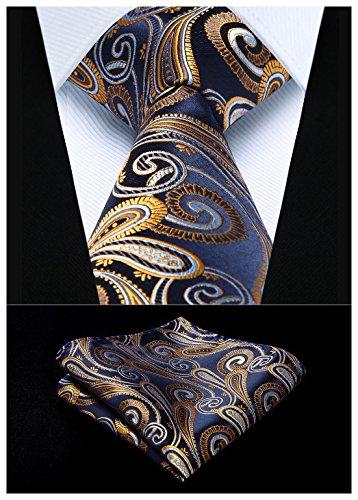 HISDERN Extra Long Floral Paisley Tie Handkerchief Men's Necktie & Pocket Square Set (Navy Blue & Gold)